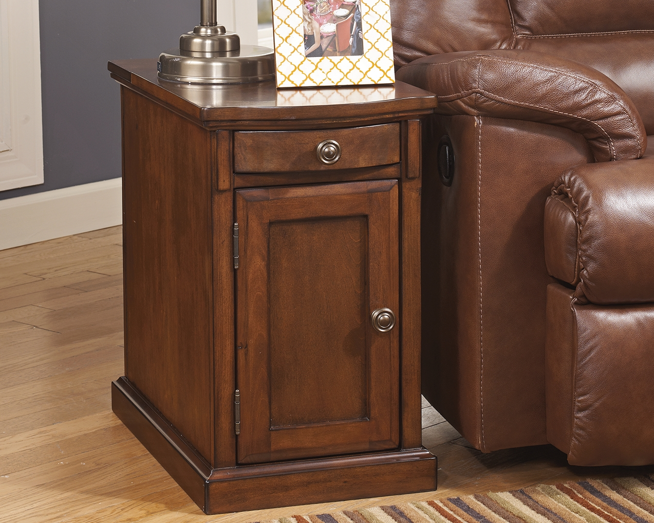 Laflorn Chairside End Table With Usb Ports Outlets Medium Brown