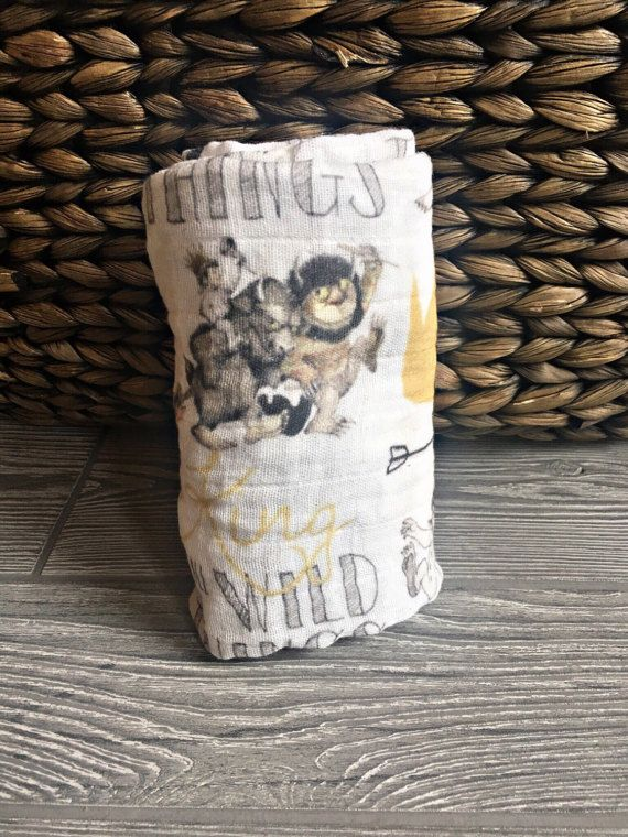 Bamboo /& Organic Cotton Muslin Swaddle /'Where The Wild Things Are/'