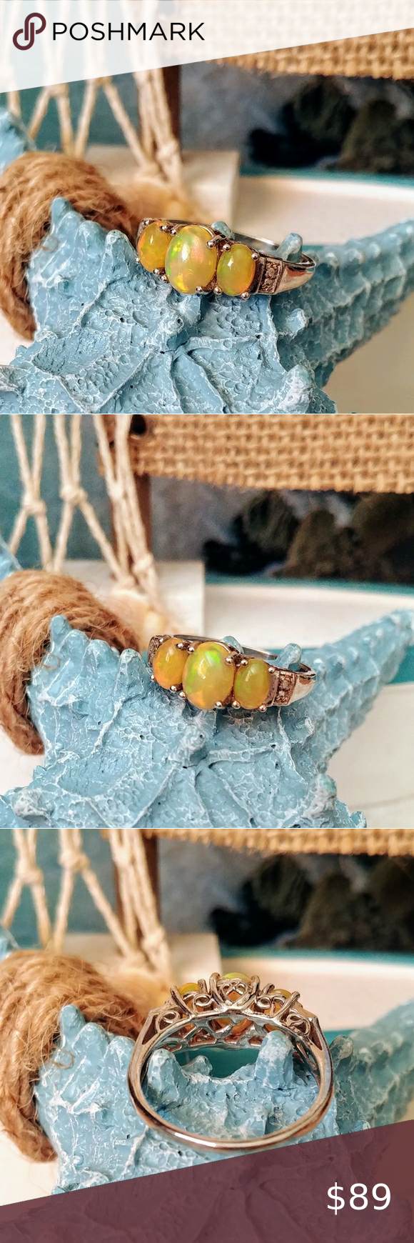 Spotted while shopping on Poshmark: 3 STONE YELLOW FIRE OPAL RING! #poshmark #fashion #shopping #style #Fashion Jewelry #Jewelry