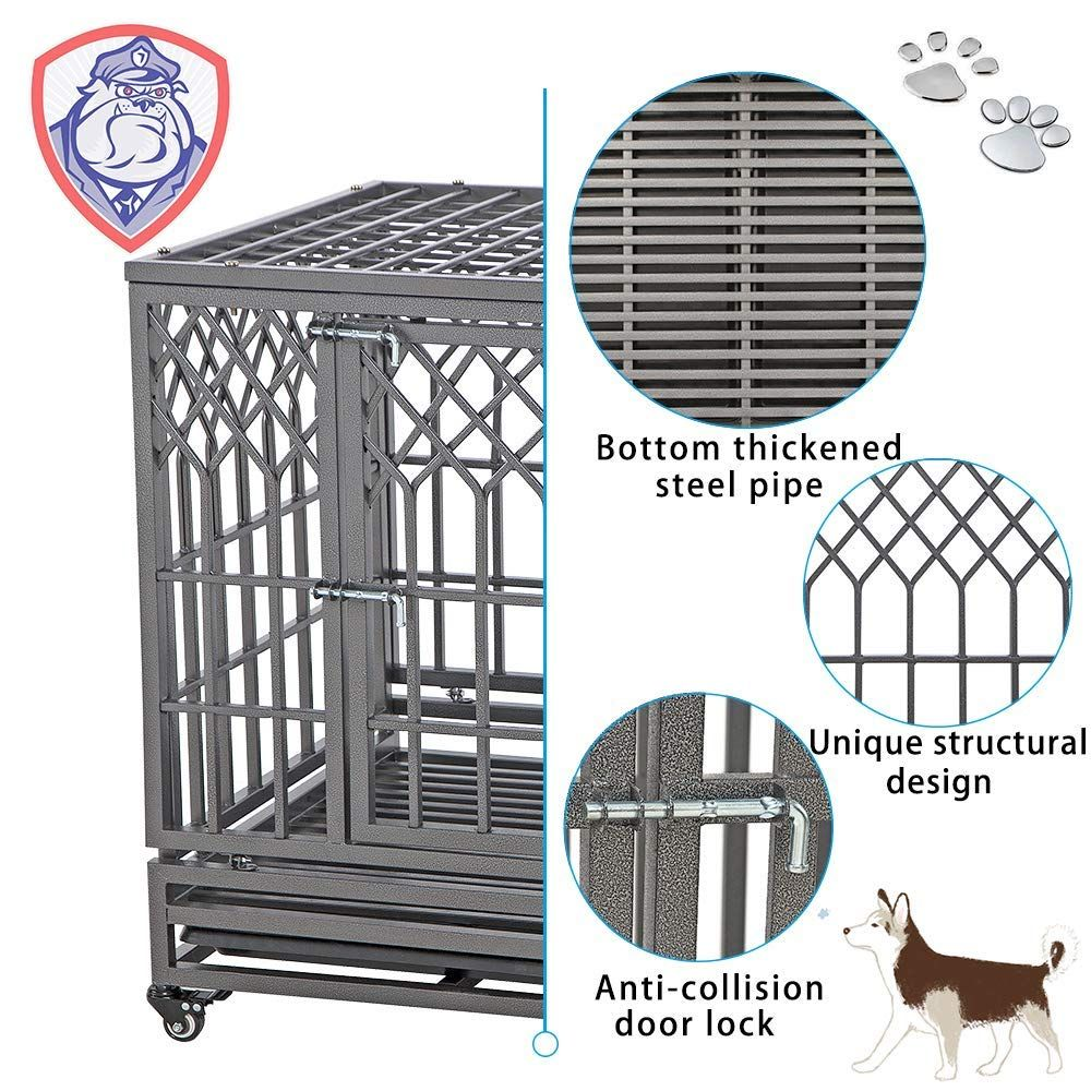 Smonter 38 Heavy Duty Dog Crate Strong Metal Pet Kennel Playpen With Two Prevent Escape Lock You Can Get Additio In 2020 Dog Crate Pet Kennels Heavy Duty Dog Crate