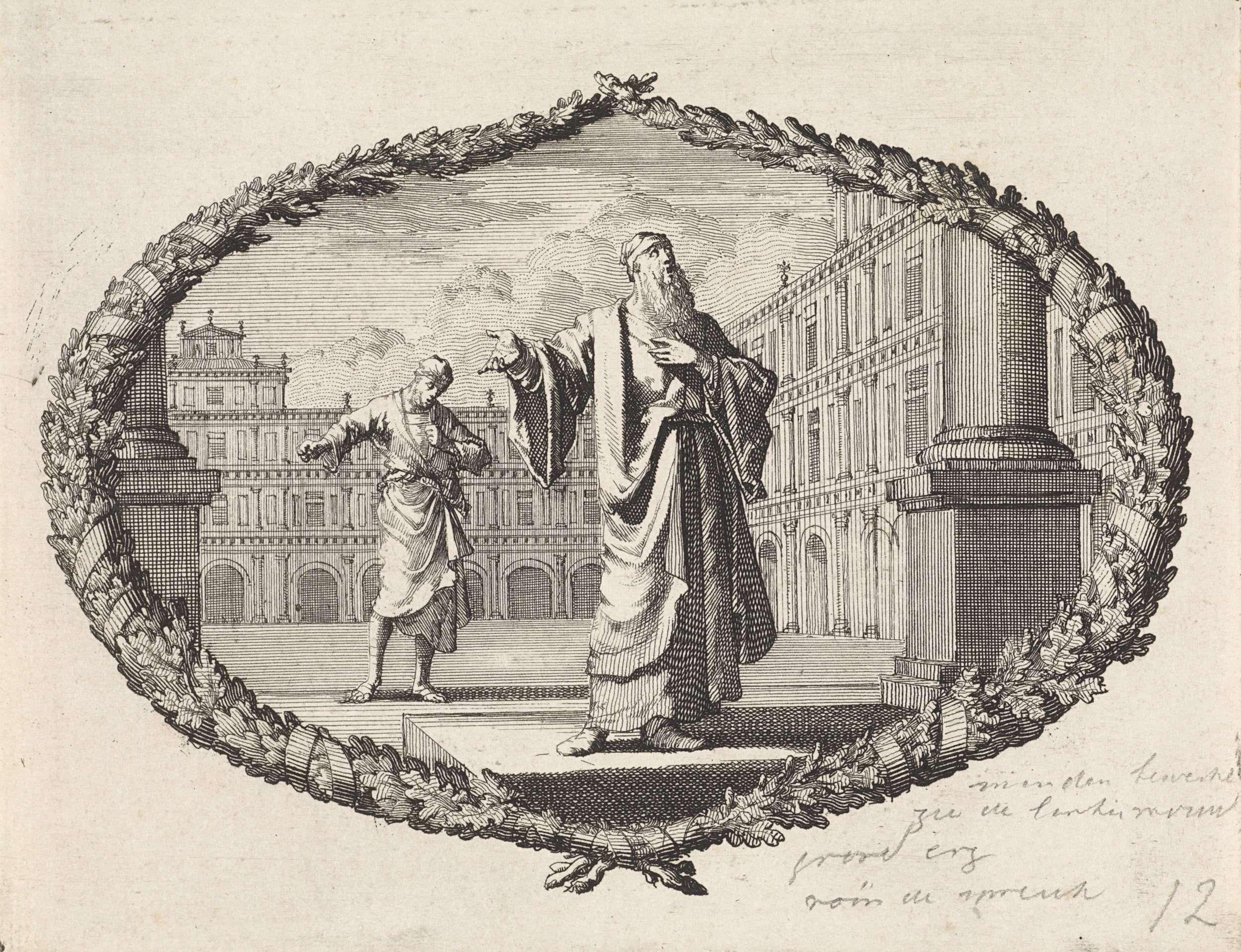 Jan Luyken   Gelijkenis van een farizeeër en een tollenaar, Jan Luyken, Pieter Mortier, 1700   Een voorstelling in een cartouche van palmtakken. Op de voorgrond een farizeeër bij een tempel. Hij bidt tot God zonder nederigheid. Op de achtergrond een tollenaar, die onderdanig zijn hoofd buigt tijdens het bidden.