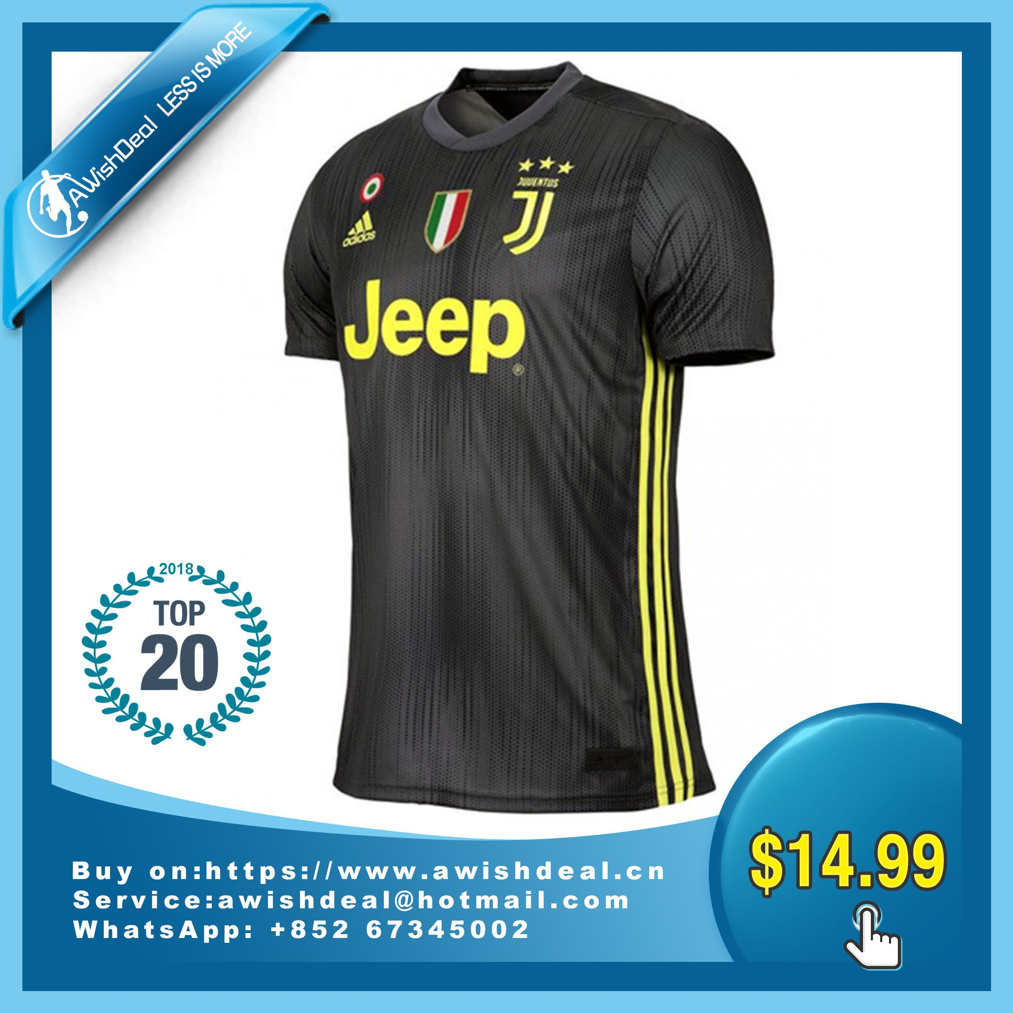 66a626d11 Click to buy 18-19 Juventus Third Away Black Soccer Jersey Shirt. For 24  hours only, take 25% OFF your total order with promo code AWISHDEAL