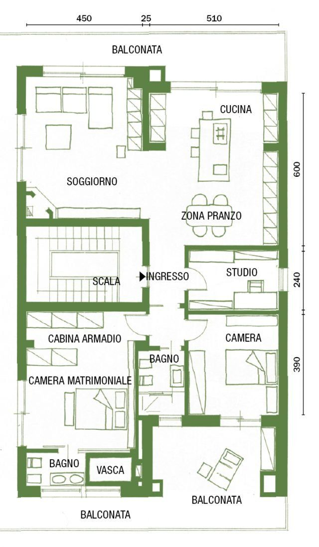 Cambio di immagine per la casa di 120 mq, all'ultimo piano