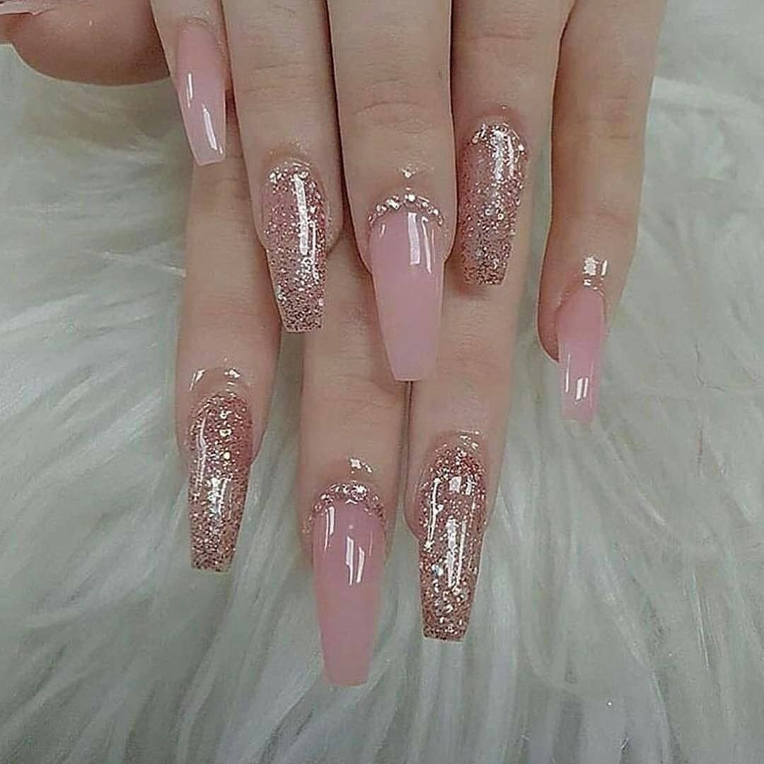 20 Long Acrylic Glitter Coffin Nails Design Within Snow Flower Ibaz Almond Acrylic Nails Pink Nails Gorgeous Nails