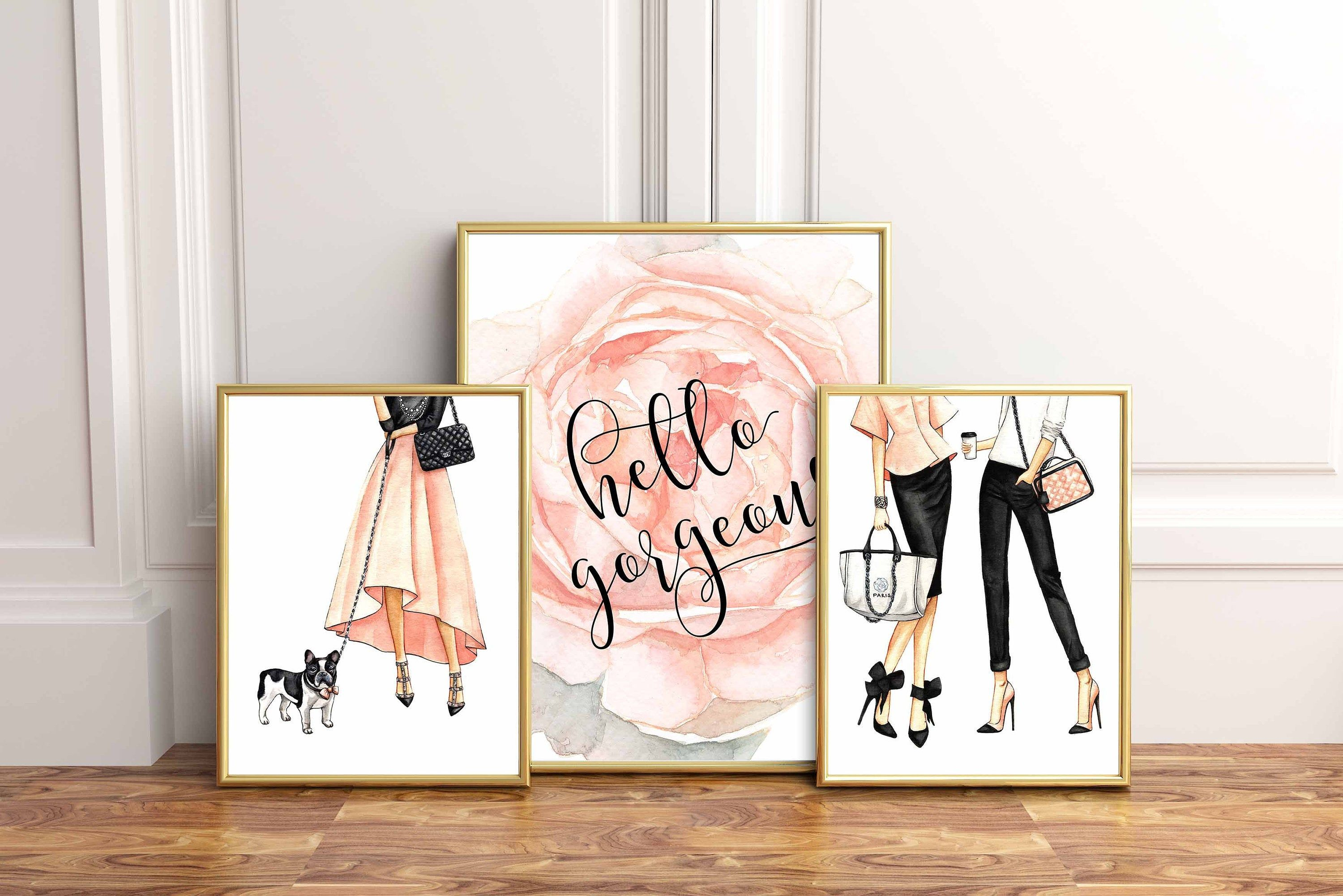 Fashion Wall Art Fashion Prints Fashion Illustration Fashion Poster Girls Bedroom Wall Decor Printable Fashion Fashion Art Blush Decor Glam In 2021 Blush Decor Wall Decor Bedroom Girls Wall Decor Printables