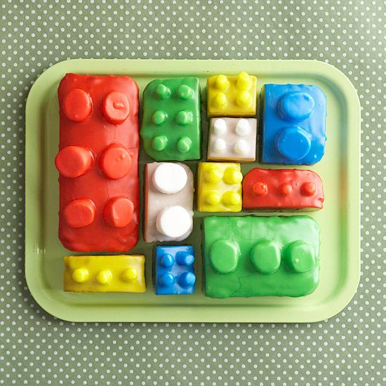Cut up a sheet cake and use marshmallows and colored frosting to create your own lego cake! Thanks @Better Homes and Gardens