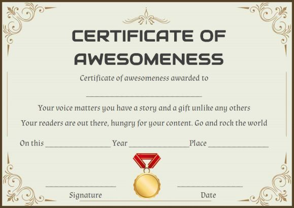 Certificate of Awesomeness Word Template | Certificate of ...