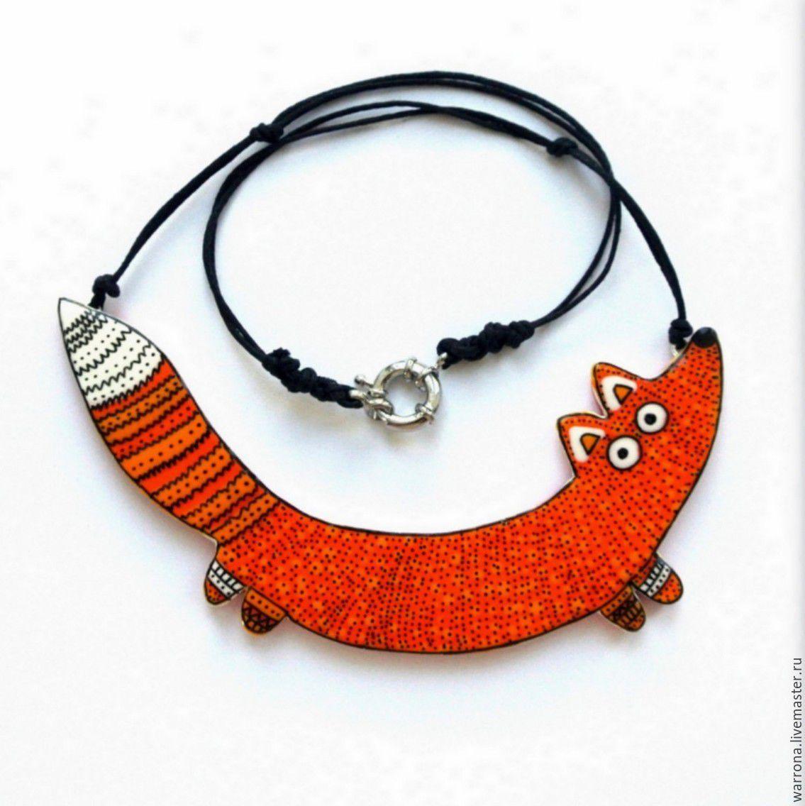 Купить колье Лиса (ручная роспись, оранжевый) - оранжевый, рыжий, лиса, лисичка, колье и серьги