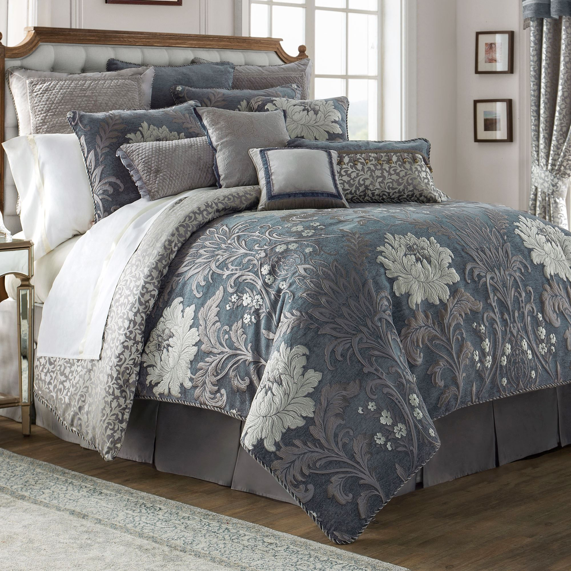 Ansonia Floral Blue Gray Comforter Bedding By Waterford Linens