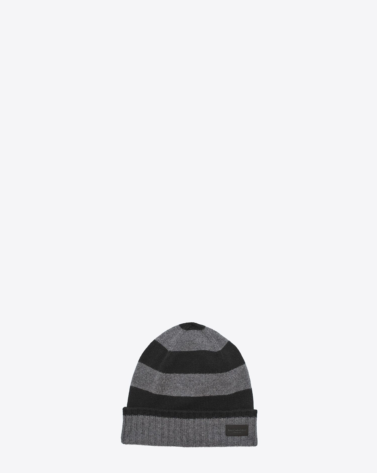 5717b6b04c6 Knit Hat in Black and Grey Collegiate Striped Cashmere   300.00 SAINT  LAURENT knit hat with ribbed fold-over brim.