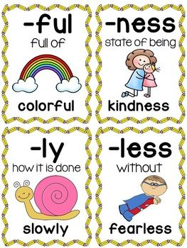 Suffixes Posters and Picture Cards for Center Activities ...