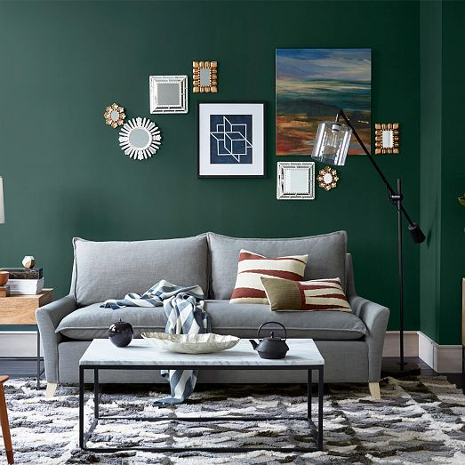Steven Alan Crisscross Shag Wool Rug West Elm Green Walls Living Room Living Room Green Green Rooms