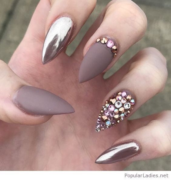 Matte and metallic gel nail art with awesome details