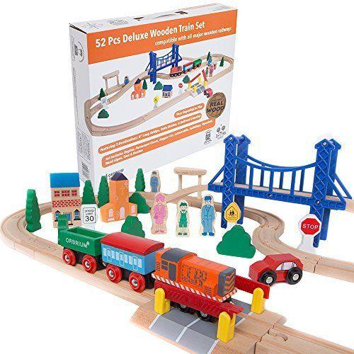 ac8def7b94a Orbrium Toys 52 Pcs Deluxe Wooden Train Set with 3 Destinations Fits Thomas