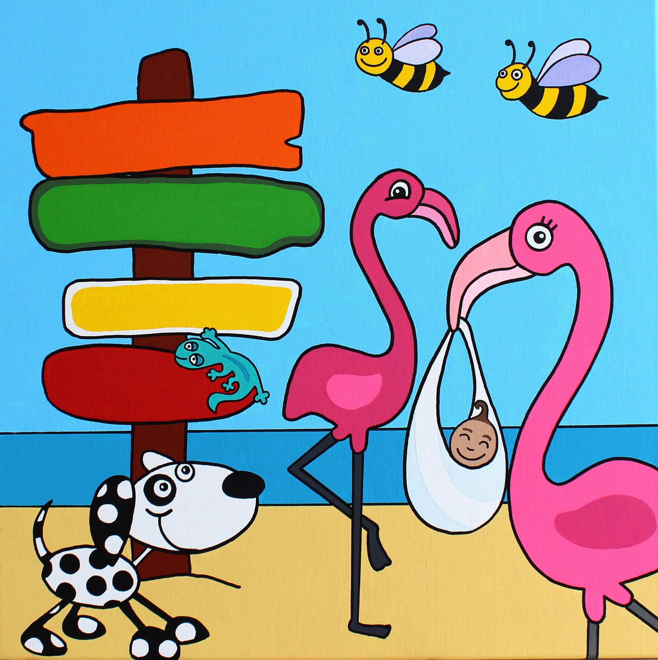 Geboorte Kaartje Drijfhout Zelfdoen Curacao Flamingo Bij Hond Curacao Knutselen Voor Kinderen Muur Tekening