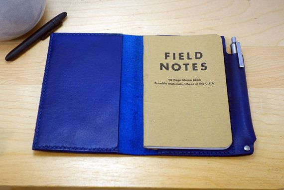 Blue Leather Field Notes cover and pen holder Every Day Carry - field note