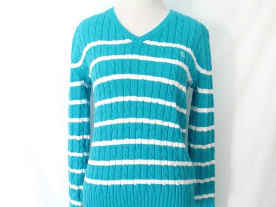 c16371f7d0a 90's Ralph Lauren Sweater Vintage Blue and White Striped Cable Knit ...