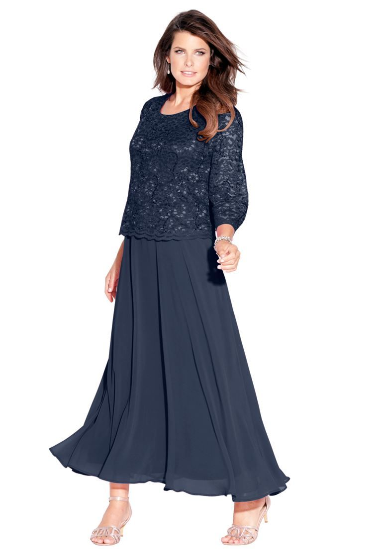 Lace Popover Dress   Plus Size Evening Dresses   Roamans   My ...