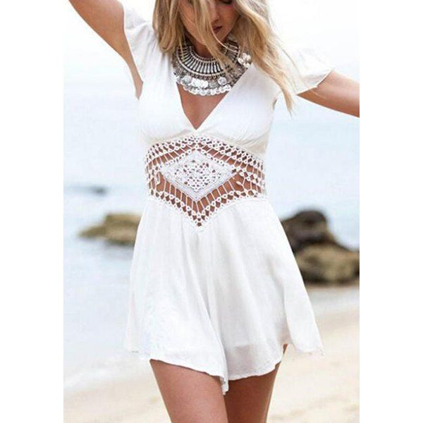 7517c1259e Stylish V-Neck Short Sleeve Hollow Out Solid Color Women s Romper ...