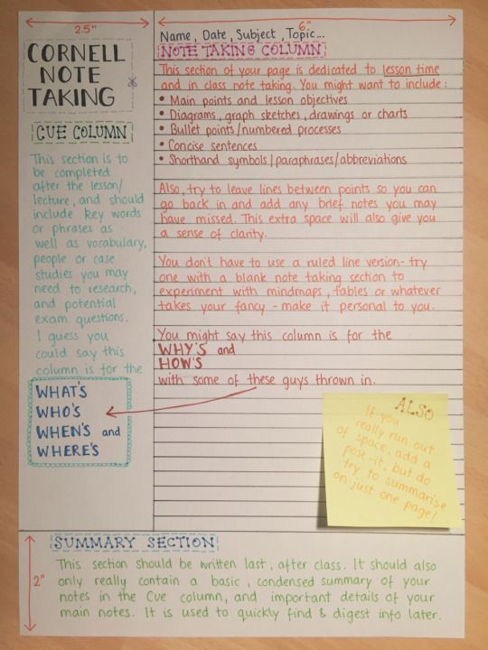 reviseordie  A little guide to the u0027Cornell Note Takingu0027 method - cornell note taking template