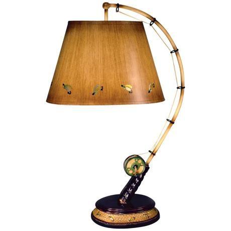 Flying Fish Rod Table Lamp M5421 Lamps Plus Fishing Decor Fishing Room Lamp