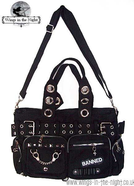 Ladies Gothic black shoulder bag by Banned features lots of silver ...