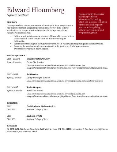 Bold Red  Career    Simple Resume Template