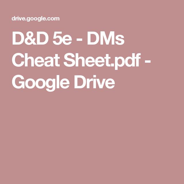 D&D 5e - DMs Cheat Sheet pdf - Google Drive | Gaming: D&D