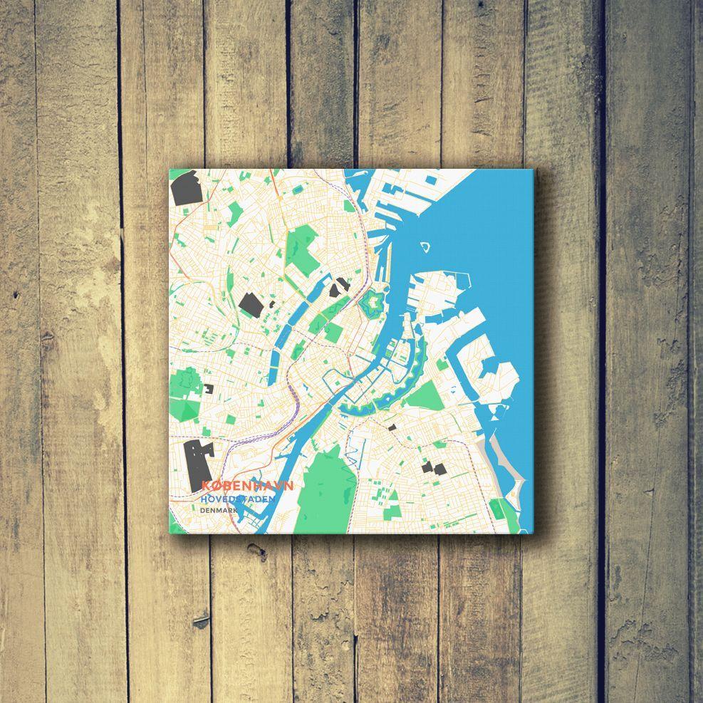 Gallery Wrapped Map Canvas of Copenhagen Denmark - Subtle Colorful - Copenhagen Map Art
