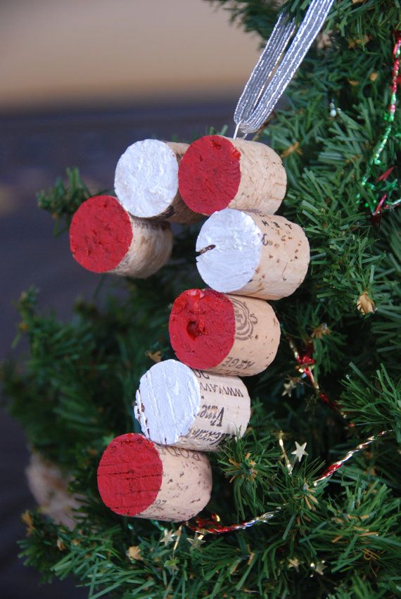 Candy cane wine cork christmas tree ornament candy canes for Cork balls for crafts