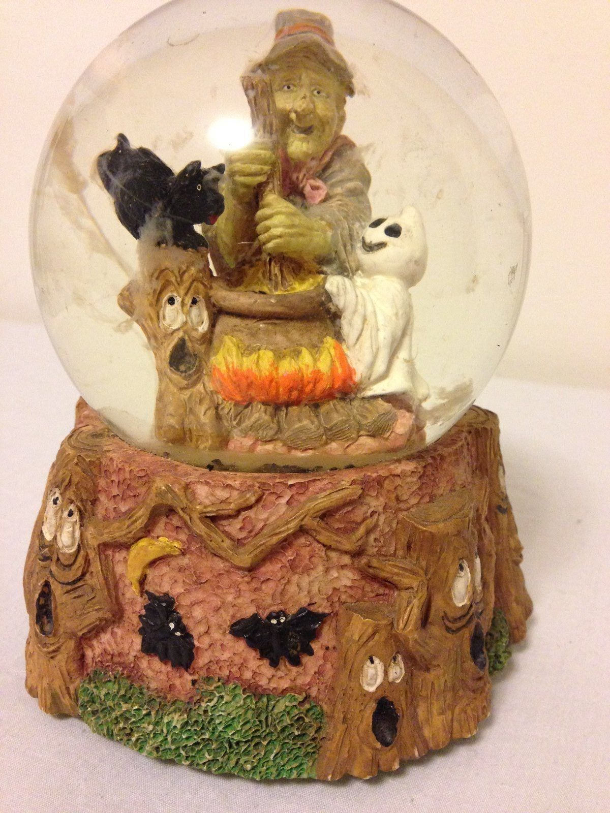 Fun Halloween Snow Globe Witch Ghost Black Cat Floating Clouds Musical | eBay
