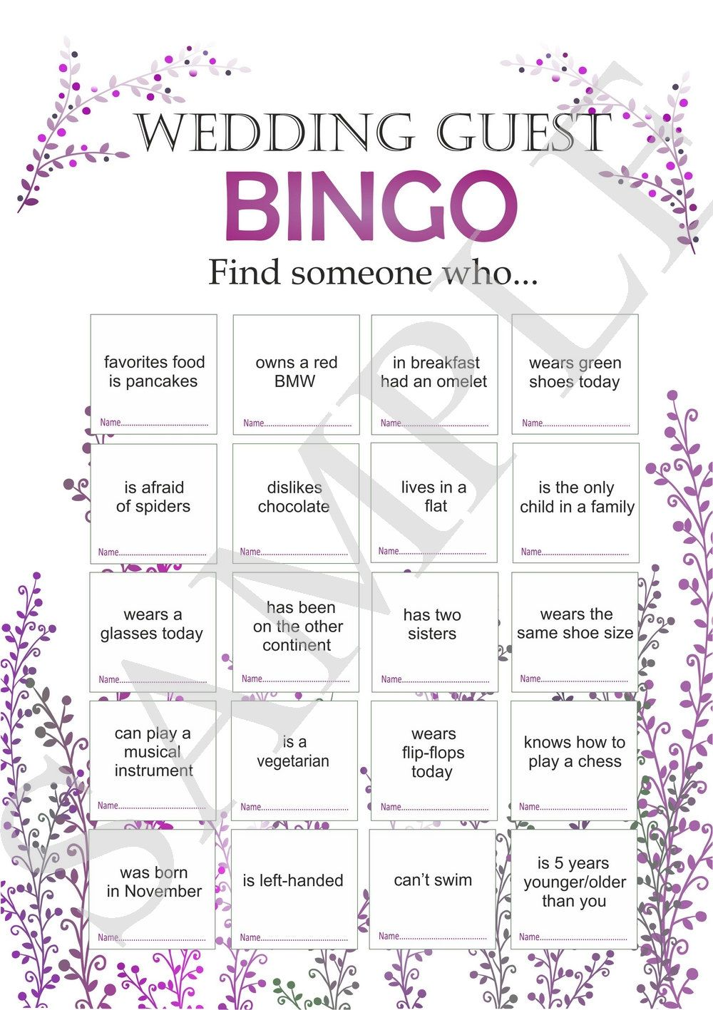 Photo of Wedding reception games, customized wedding game, wedding games for guests, printable bingo game, icebreaker for guests. wedding bingo