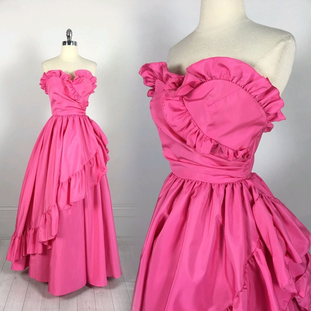 Vtg s s mike benet pink prom dress ball gown strapless princess