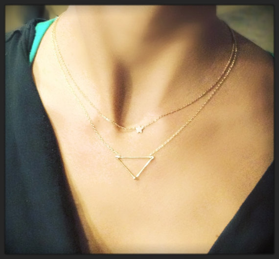 Dainty Hipster Triangle Necklace 14k Gold Sterling Silver Etsy Gold Triangle Necklace Triangle Necklace Necklace