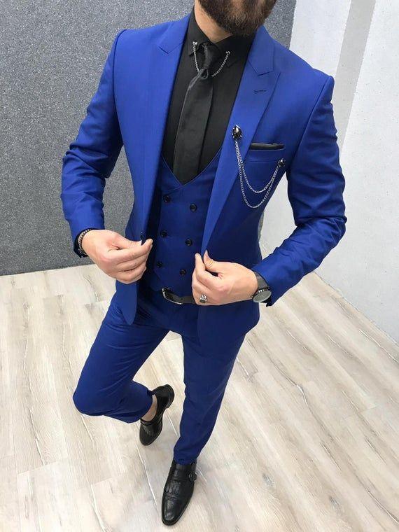 Men Navy Blue Plaid Suit Groom Tuxedo Formal Wedding Prom Party Dinner Suit