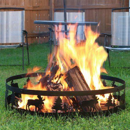 Sunnydaze Black Steel Northwoods Wild Moose Outdoor Campfire Ring 36 Inch Walmart Com Fire Ring Outdoor Fire Pit Backyard Fire