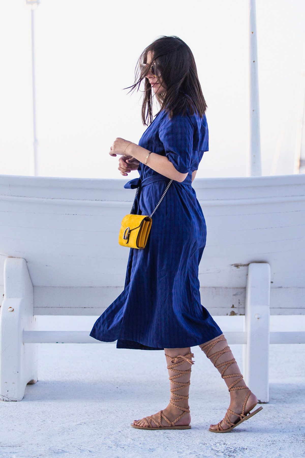 Stella Asteria wearing blue dress