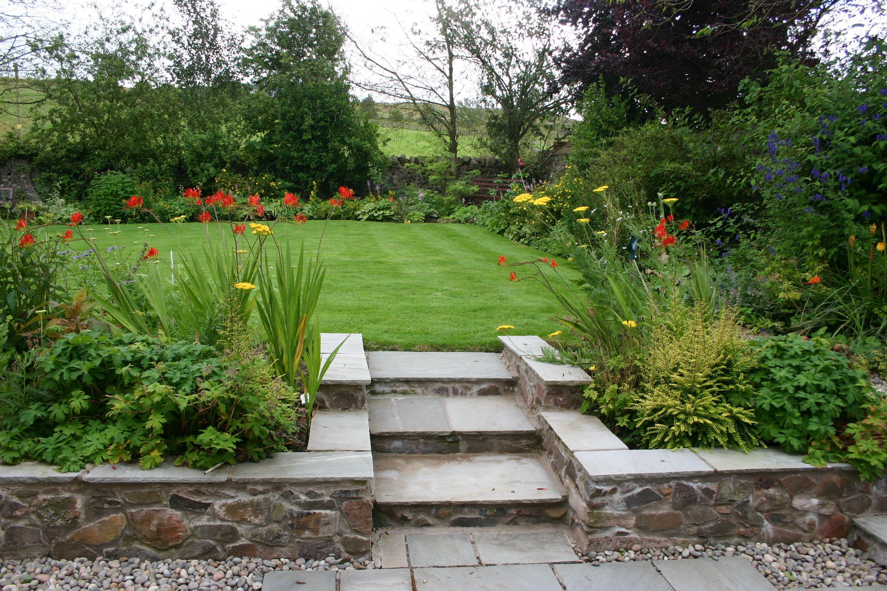 indian sandstone garden steps in a scottish borders farmhouse