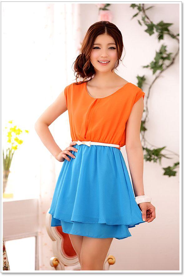 Оранжевое Голубое Платье