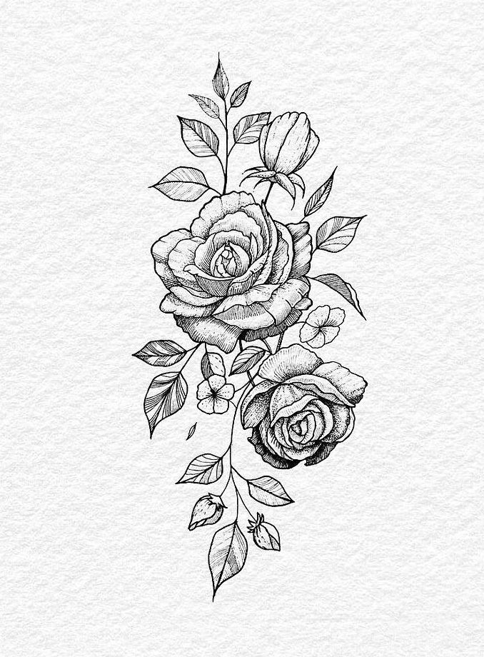 Roses By Bachz Tat Rose Flower Tattoos Tattoos Floral Tattoo Design