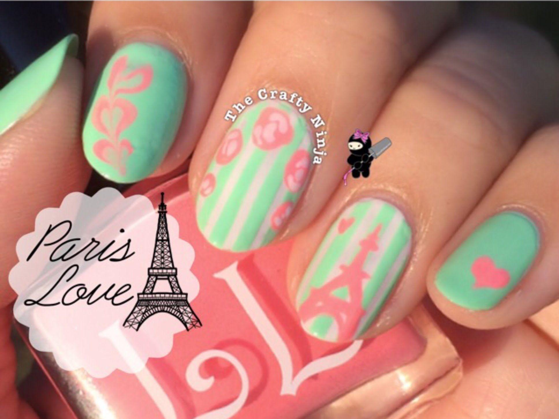Paris Vintage Rose Nail Art by The Crafty Ninja   Nail Designs ...