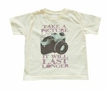 "Light Yellow Children's T-Shirt with Funny Soft Pink ""TAKE A PICTURE It Will Last Longer"" Print in Children's/Toddler Sizes - Kids Clothing"