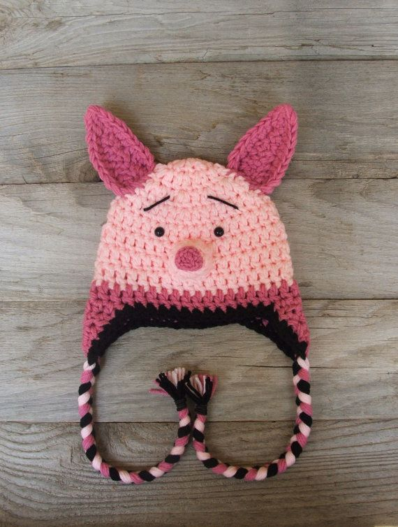 Piglet Hat with Braids and Earflaps inspired por KreativeKroshay ...