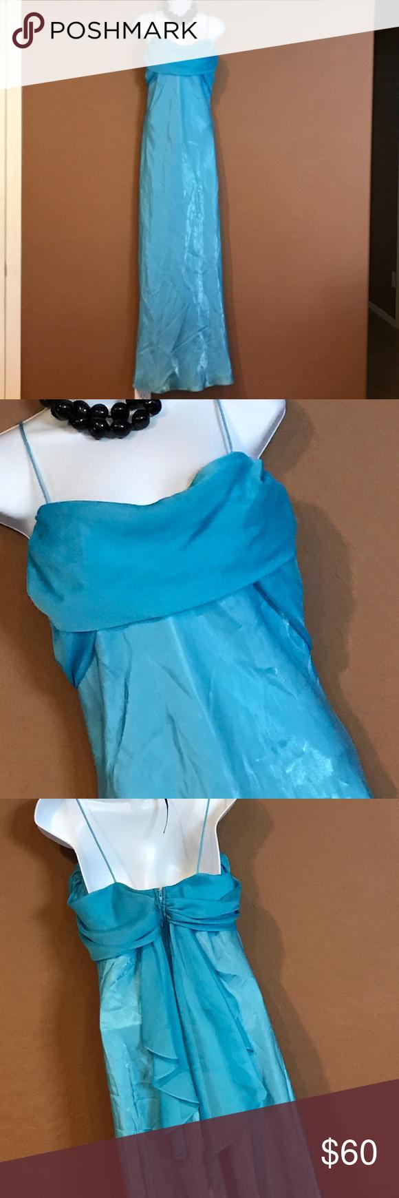 Wot long blue formal dress never worn spaghetti straps back
