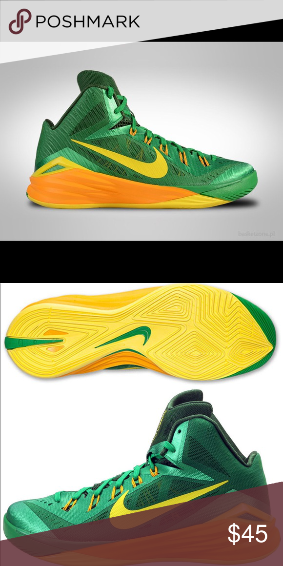 the best attitude 3acf4 198ac Nike hyperdunk 2014 yellow green size 11 EUC hyperdunks by Nike. 2014  model. Men s size 11 The trim closest to ankle shows a little wear as shown  in last ...