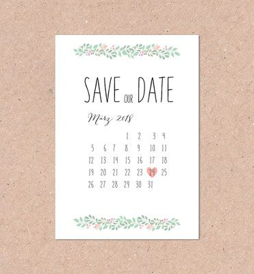 Save the Date (mint, mit Kalender, individuell, berry, vintage ...