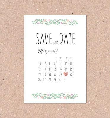 Save The Date (mint, Mit Kalender, Individuell, Berry, Vintage, Hochzeitsset