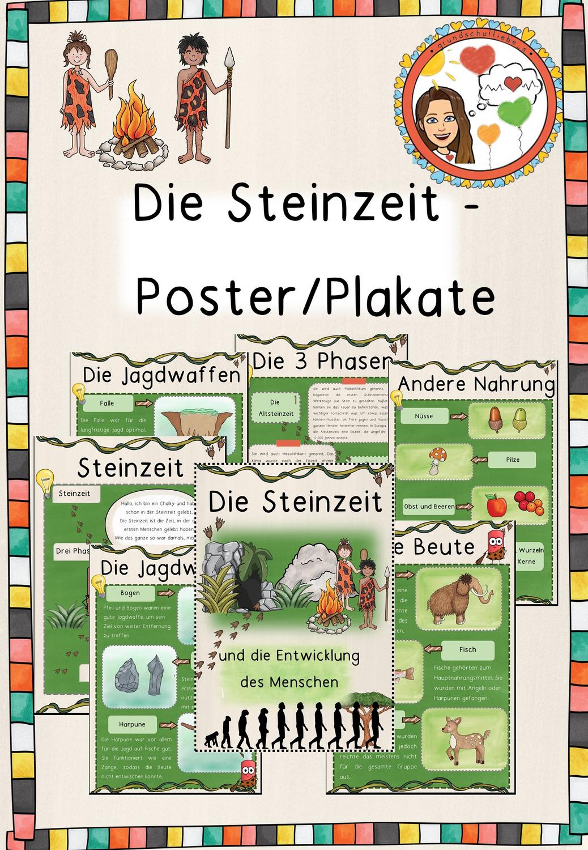 Die Steinzeit Poster Plakate Unterrichtsmaterial Im Fach Sachunterricht Steinzeit Entwicklung Des Menschen Geschichtsunterricht