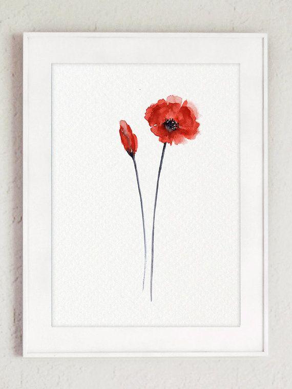 Photo of Mohnblumen Set von 2 Kunstdrucke, Blumengarten Aquarell, Wohnzimmer Wand-Dekor, Wiese Illustration, rot Mohn Home Decor Geschenkidee