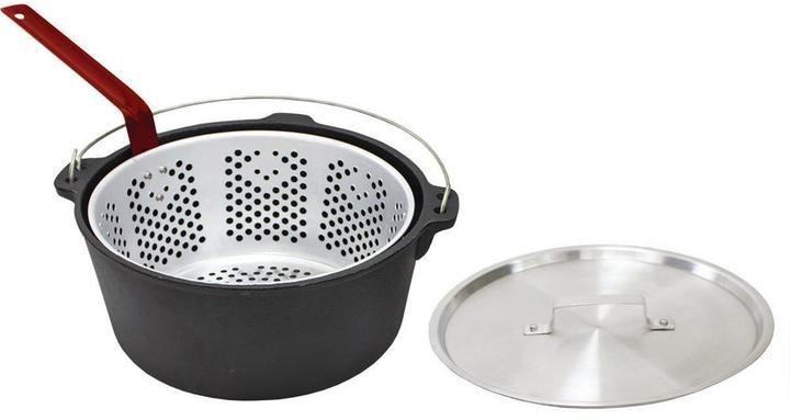Chard 9 qt cast iron stock pot with basket